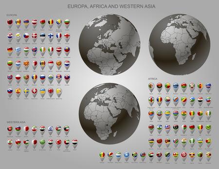 Globes avec l'Europe, l'Afrique et l'Asie occidentale avec les frontières des États souverains et le marqueur de carte serti de drapeaux d'État des continents avec des légendes par ordre alphabétique. Illustration vectorielle Vecteurs