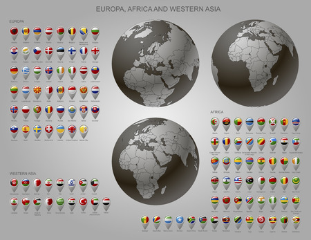 Globes with Europe, Africa and Western Asia with borders of Sovereign states and map marker set with state flags of continents with captions in alphabet order. Vector illustration