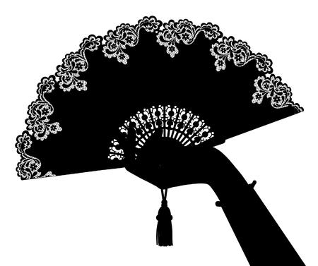 Silhouette noire de la main de la femme avec ventilateur ouvert isolé sur blanc. Illustration vectorielle