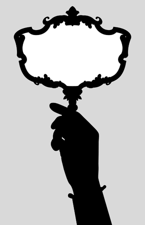 Black silhouette of woman's hand with a retro mirror. Vector Illustration