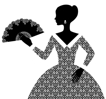 Black silhouette of woman in retro ornamental dress with open fan isolated on white. Vector illustration