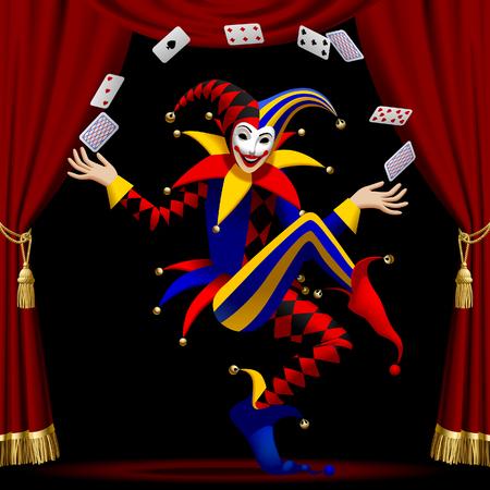 Joker avec des cartes à jouer cultivées par rideau rouge sur fond noir. Illustration vectorielle Vecteurs