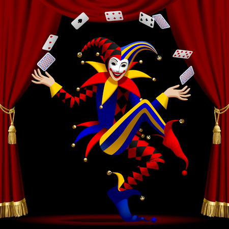 Joker with playing cards farmed by red curtain on black. Vector illustration