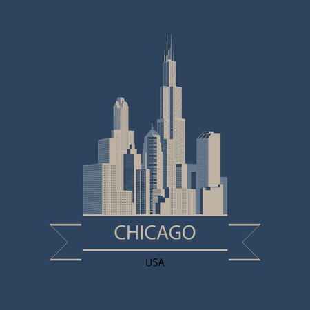 Travel banner  of Chicago and USA with the modern buildings silhouette. Vector illustration  イラスト・ベクター素材