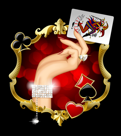 Woman's hand with jewelry holding Joker playing card in the gold vintage decorative frame with red lights and suit symbols. Casino game concept design. Vector illustration