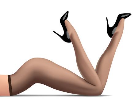 Piernas de mujer acostada en pantimedias oscuras y zapatos negros brillantes de tacón alto aislados en blanco. Concepto de moda. Ilustración vectorial