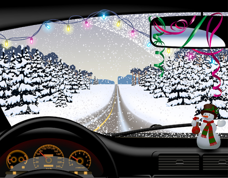 Winter road in snowfall from inside of the car. Christmas and New Year greeting card. Vector illustration.