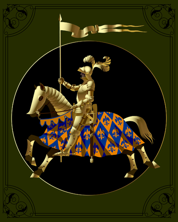 Gold knight in a black circle on a dark green background with a vintage frame. Vector illustration Standard-Bild - 115071222