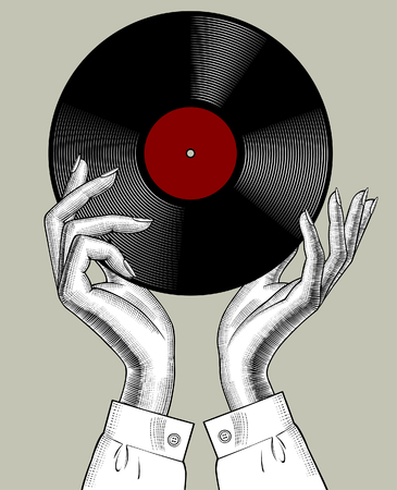 Woman's hands with a gramophone record. Retro music concept. Vintage stylized drawing. Vector Illustration