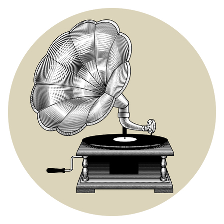 Old gramophone isolated in a circle. Vintage engraving stylized drawing. Concept of retro music vector illustration Illustration