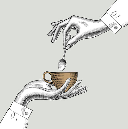 Pair of female hands with a coffee cup and spoon. Vintage engraving stylized drawing. Vector illustration