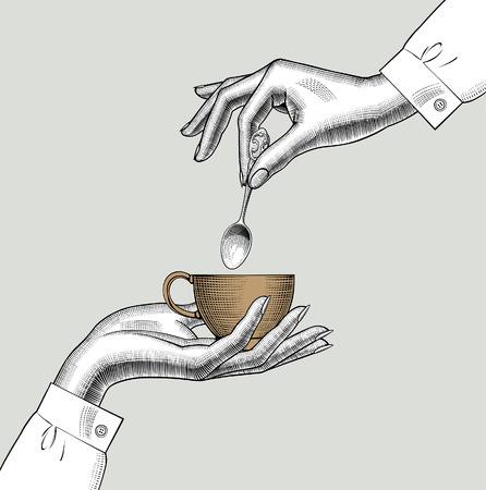 Paire de mains féminines avec une tasse à café et une cuillère. Dessin stylisé de gravure vintage. Illustration vectorielle Vecteurs
