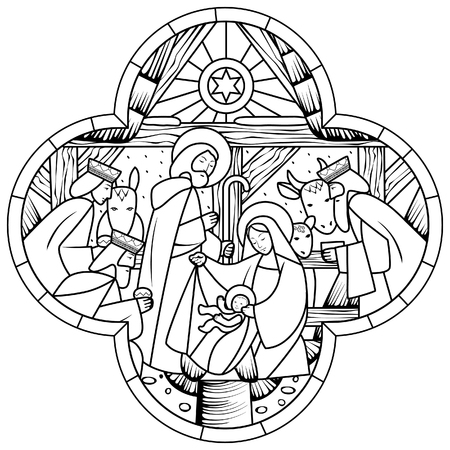 Birth of Jesus Christ scene in cross shape. Linear drawing for coloring book. Vector illustration