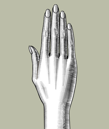 Woman's hand stretched upwards. Vintage engraving stylized drawing. Vector illustration Archivio Fotografico - 115071231