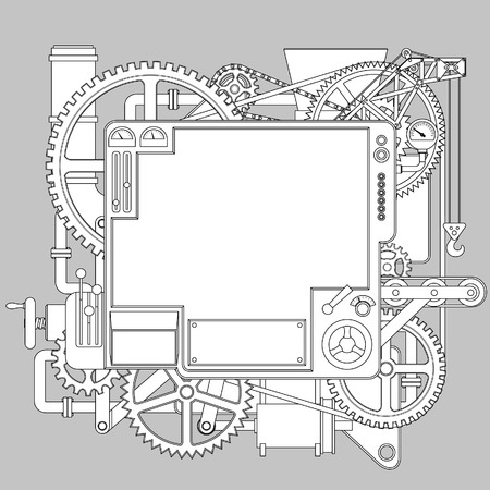 Contour drawing of white complex fantastic machine. Steampunk style template, poster and techno symbol. Pattern for coloring book. Vector illustration