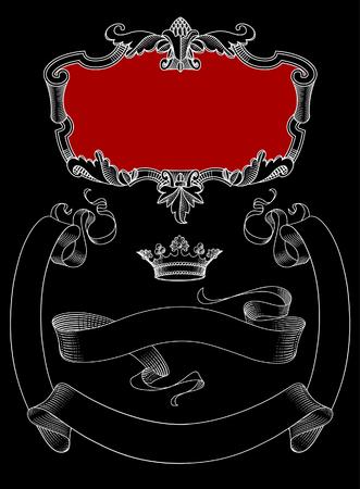 Vintage decorative design elements on black. Vector illustration Standard-Bild - 115071234