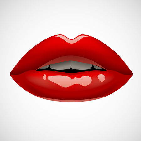Female red lips isolated on white. Vivid open mouth of woman. Vector illustration