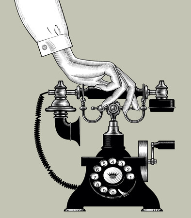 Woman's hand with retro black phone. Vintage engraving stylized drawing. Vector illustration