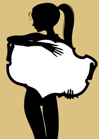 Black silhouette of fine girl holding a vintage banner. Vector illustration Ilustração Vetorial