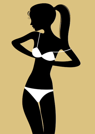 Black silhouette of fine girl in underwear standing and buttoning up her white bra. Vector illustration