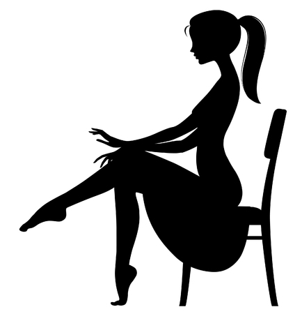 Black silhouette of fine girl in dress seated half-face on the chair without shoes isolated on white. Fashion concept. Vector illustration Ilustracja