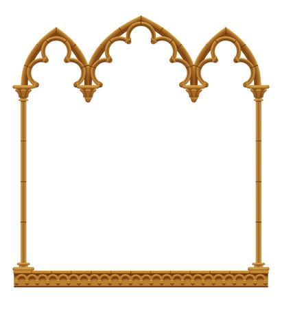 Klassiek gotisch architectonisch Decoratief frame dat op wit wordt geïsoleerd. Vintage ontwerpelement, omslag en poster sjabloon. Vector illustratie