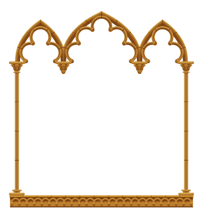 Classic gothic architectural decorative frame isolated on white. Vintage design element, cover and poster template. Vector Illustration
