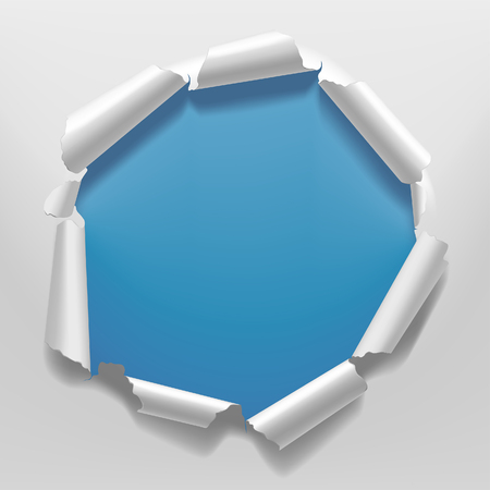 White torn paper frame with a hole on blue background background. Vector illustration