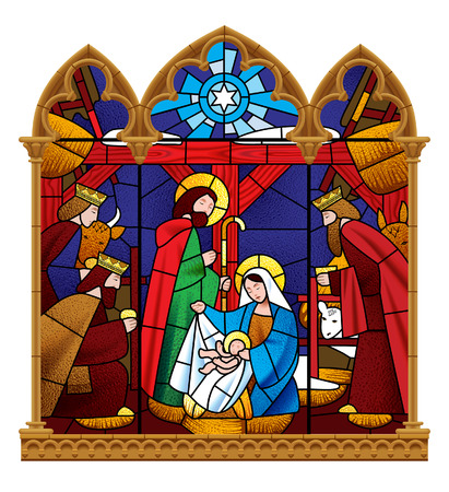 Stained glass window depicting Christmas scene in gothic frame isolated on white background. Vector illustration Vettoriali