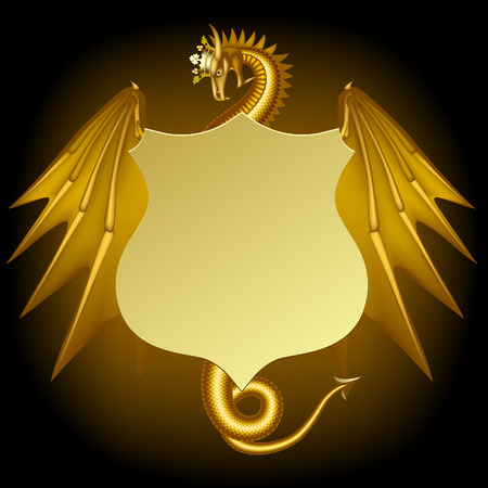 Gold dragon in crown with a vintage sign on black. Fantasy banner, poster and cover. Vector illustration