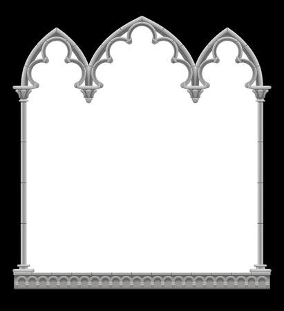 Marco decorativo arquitectónico gótico clásico en colores blanco y negro. Elemento de diseño vintage, plantilla de portada y póster aislado en blanco. Ilustración vectorial