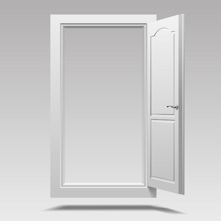 White open door hanging in the air. Vector illustration