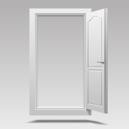 White open door hanging in the air. Vector illustration