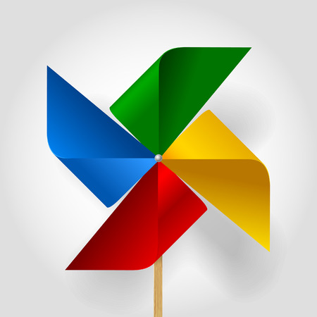 Multicolored toy paper windmill propeller. Pinwheel with blades of different colors. Vector illustration Vector Illustration