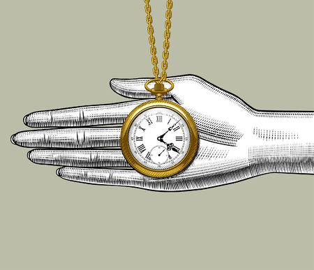Retro pocket watch on the palm of woman's hand. Vintage stylized drawing. Vector Illustration