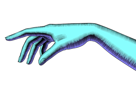 Woman's pointing hand. Vintage colorized engraving stylized drawing. Vector illustration Foto de archivo - 115071251