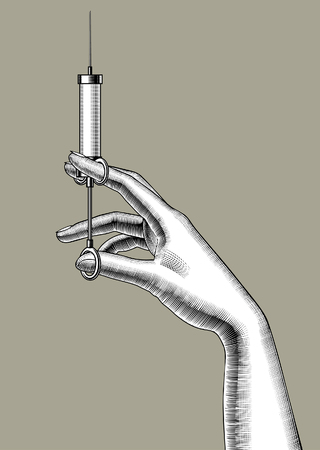 Woman's hand with a retro syringe. Vintage colorized engraving stylized drawing. Vector illustration Vector Illustratie