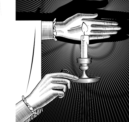 Woman's hands holding a candlestick with burning candle on black. Vintage engraving stylized drawing. Vector illustration Banque d'images - 104201954