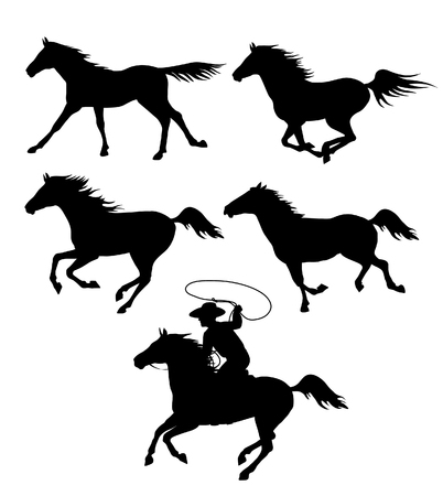 Set of black silhouettes of running horses and a cowboy with a lasso isolated on white. Vector illustration Illustration