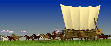 Paisaje de pradera del salvaje oeste con carro cubierto y bandada de caballos. Ilustración vectorial