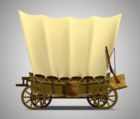 Vagón cubierto del salvaje oeste aislado en blanco. Ilustración vectorial