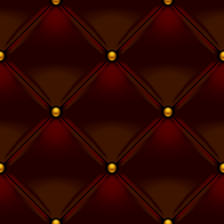 Brown button-tufted leather background. Brown upholstery seamless pattern. Vector illustration.