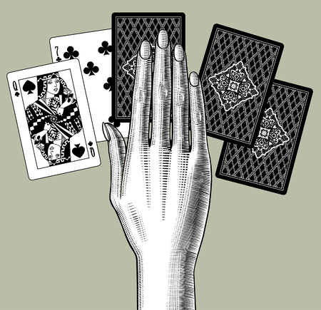 Womans hand laying out playing cards fan. Vintage engraving stylized drawing. Vector illustration Illustration