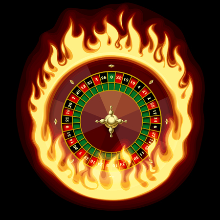 Casino roulette wheel in fiery ring on dark green background. Vector illustration