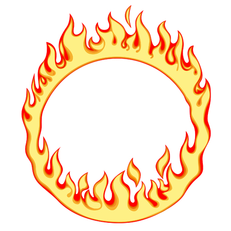 Fiery ring isolated on white. Fire round frame. Vector illustration