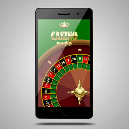 Modern phone isolated on white with Casino roulette wheel in the green screen. Vector illustration