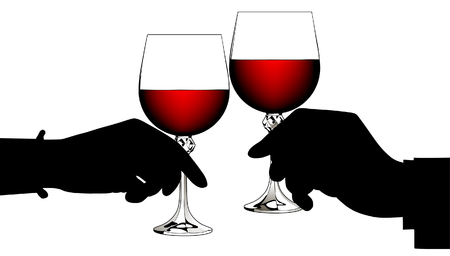 Black silhouettes of man's and woman's hands clink glasses with red wine isolated on white. Vector illustration