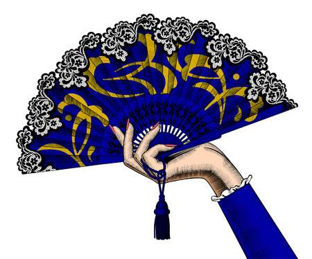 Female hand holding a blue open fan with yellow ornament isolated on white. Vintage color engraving stylized drawing. Vector illustration