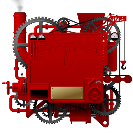 Red complex fantastic machine with gears, levers, pipes, meters, production line, flue and lifting crane. Steampunk style template, poster and techno background. Vector illustration Stock Illustratie