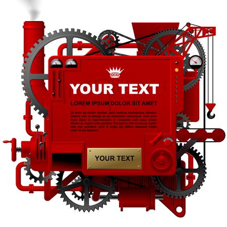 Rode complexe fantastische machine met tandwielen, hendels, buizen, meters, productielijn, rookkanaal en hijskraan. Steampunk stijlsjabloon, poster en techno achtergrond. Vector illustratie Vector Illustratie